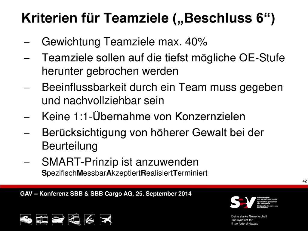 """Kriterien für Teamziele (""""Beschluss 6 )"""