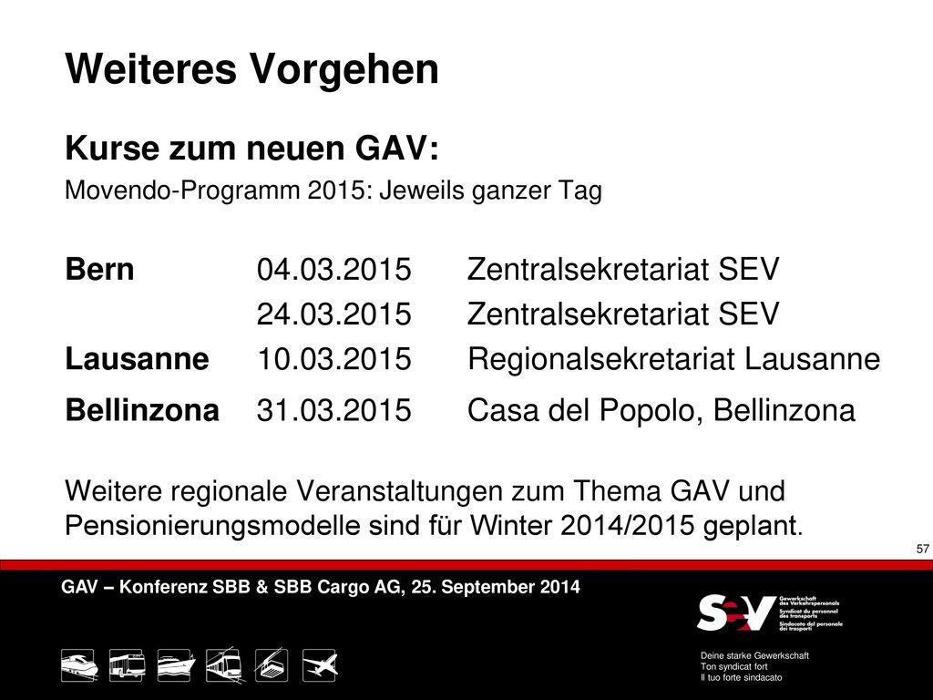 Weiteres Vorgehen Kurse zum neuen GAV: