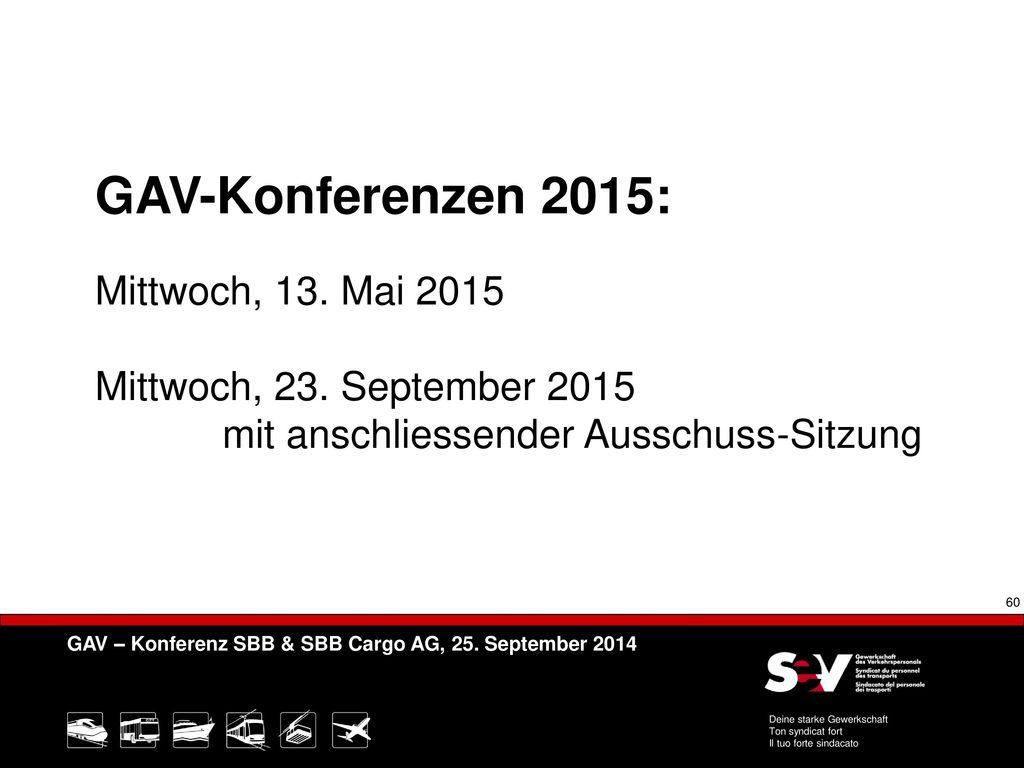 GAV-Konferenzen 2015: Mittwoch, 13. Mai 2015