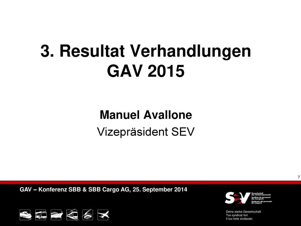 3. Resultat Verhandlungen GAV 2015 Manuel Avallone Vizepräsident SEV