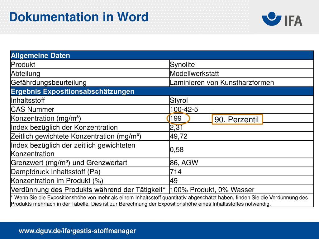 Dokumentation in Word 90. Perzentil Allgemeine Daten Produkt Synolite