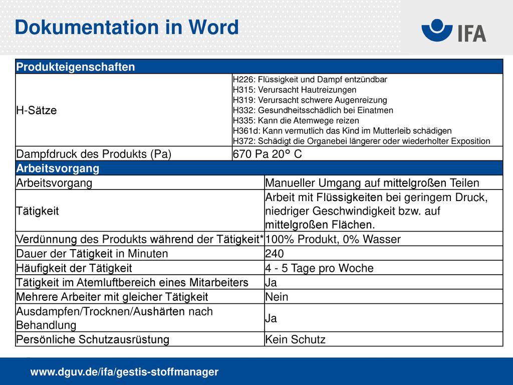 Dokumentation in Word Produkteigenschaften H-Sätze