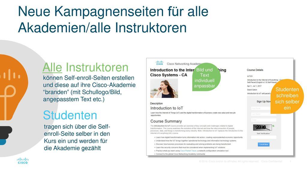 Neue Kampagnenseiten für alle Akademien/alle Instruktoren