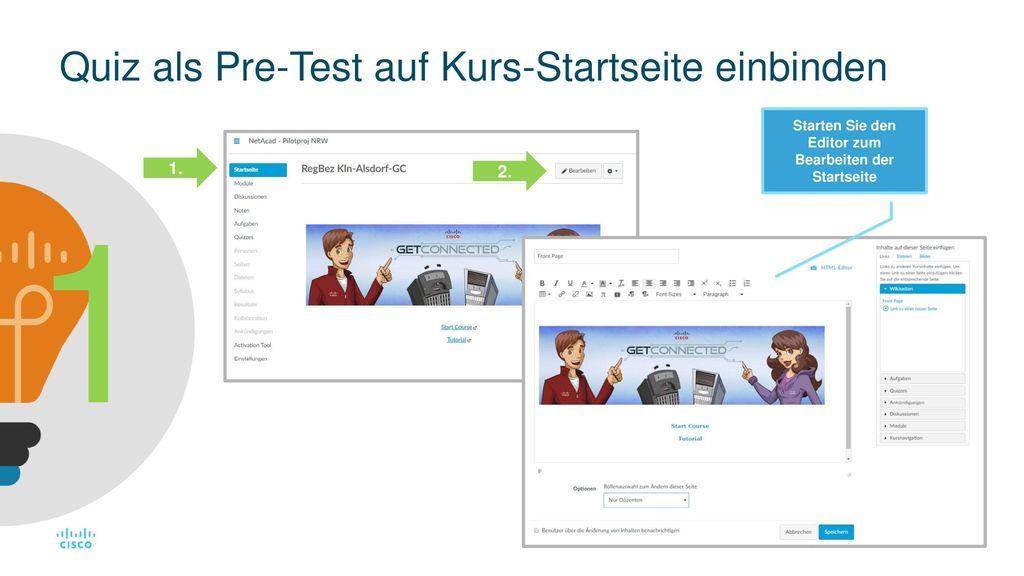 Quiz als Pre-Test auf Kurs-Startseite einbinden