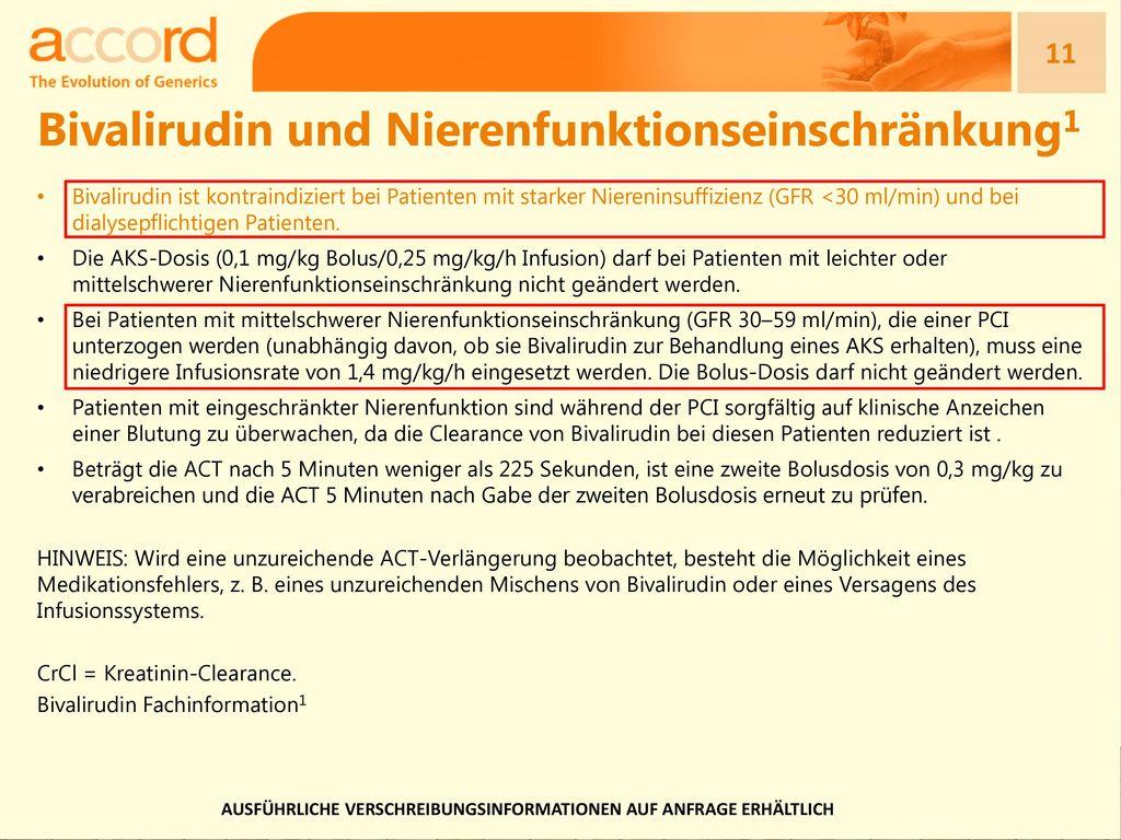 Bivalirudin und Nierenfunktionseinschränkung1