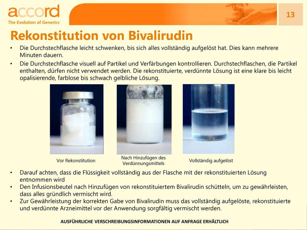 Rekonstitution von Bivalirudin