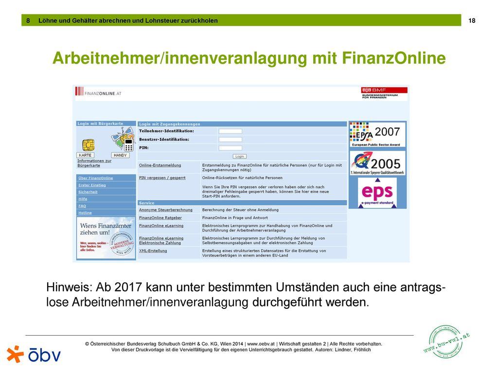 Arbeitnehmer/innenveranlagung mit FinanzOnline