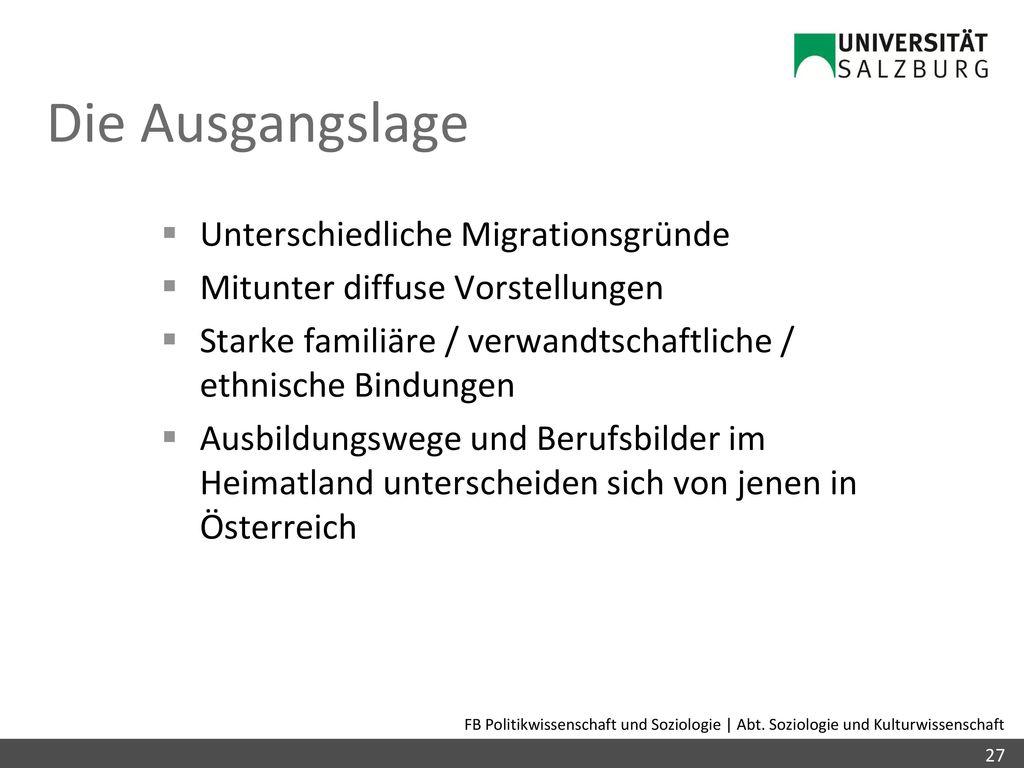 Die Ausgangslage Unterschiedliche Migrationsgründe