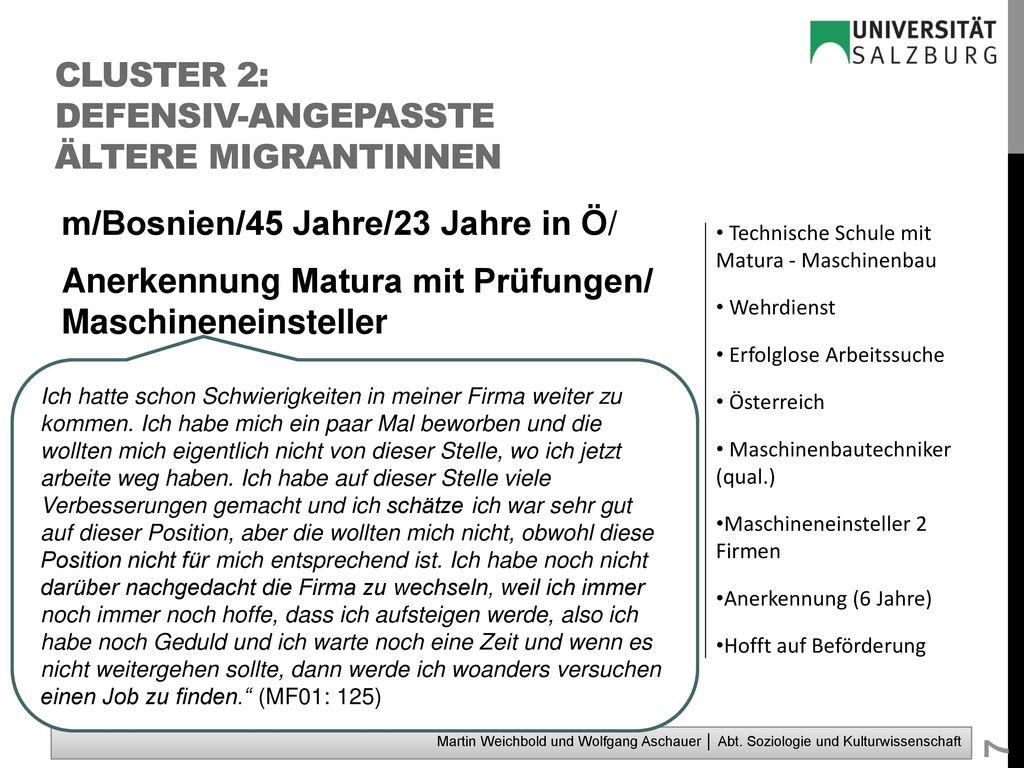 Cluster 2: defensiv-angepasste ältere MigrantInnen