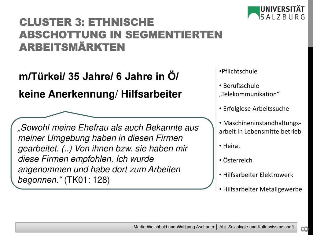 Cluster 3: ethnische Abschottung in segmentierten Arbeitsmärkten