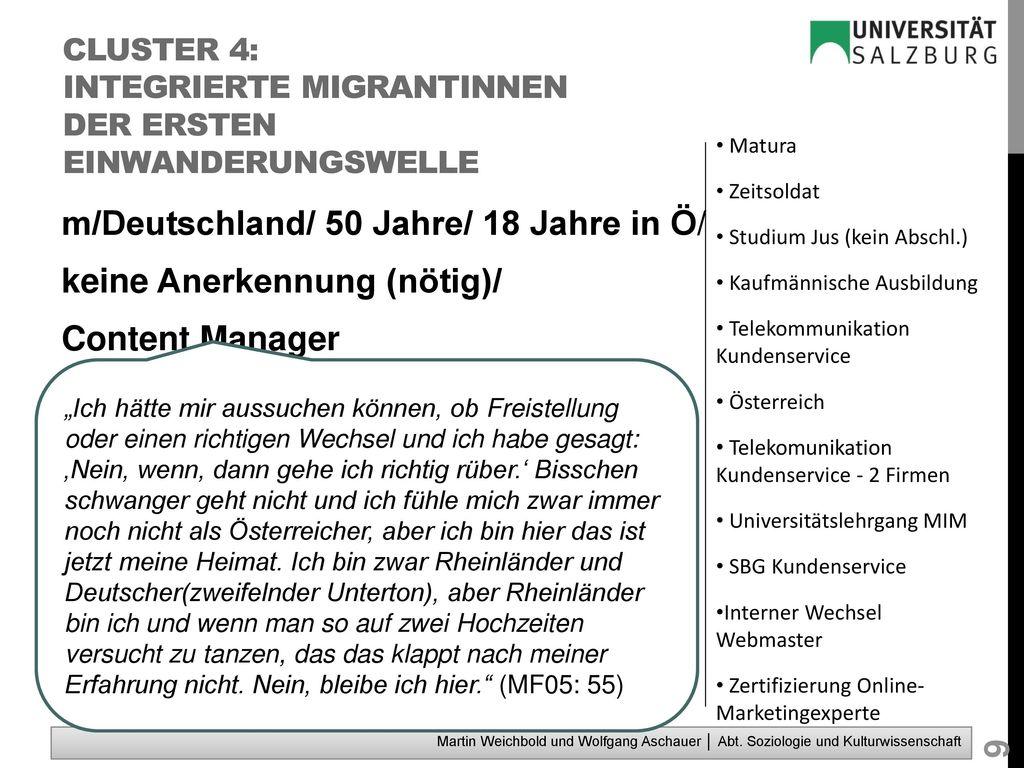 Cluster 4: integrierte MigrantInnen der ersten Einwanderungswelle