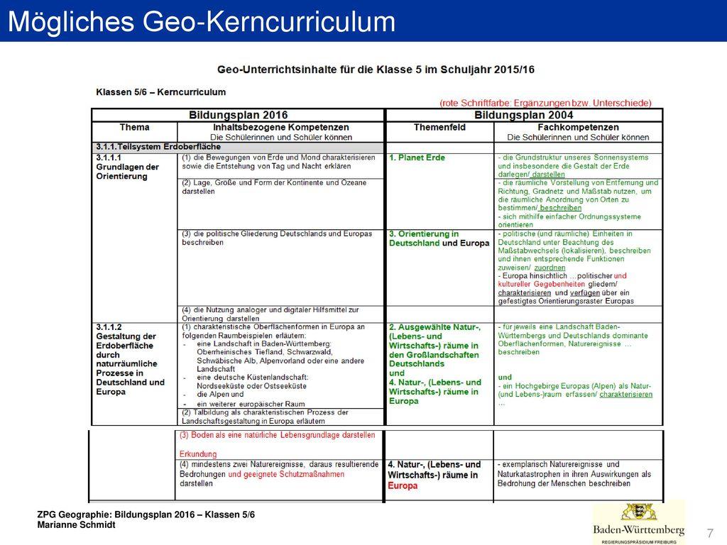 Mögliches Geo-Kerncurriculum