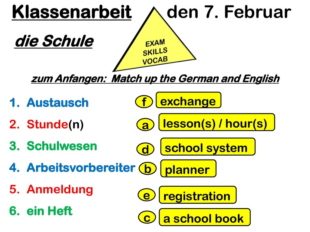zum Anfangen: Match up the German and English