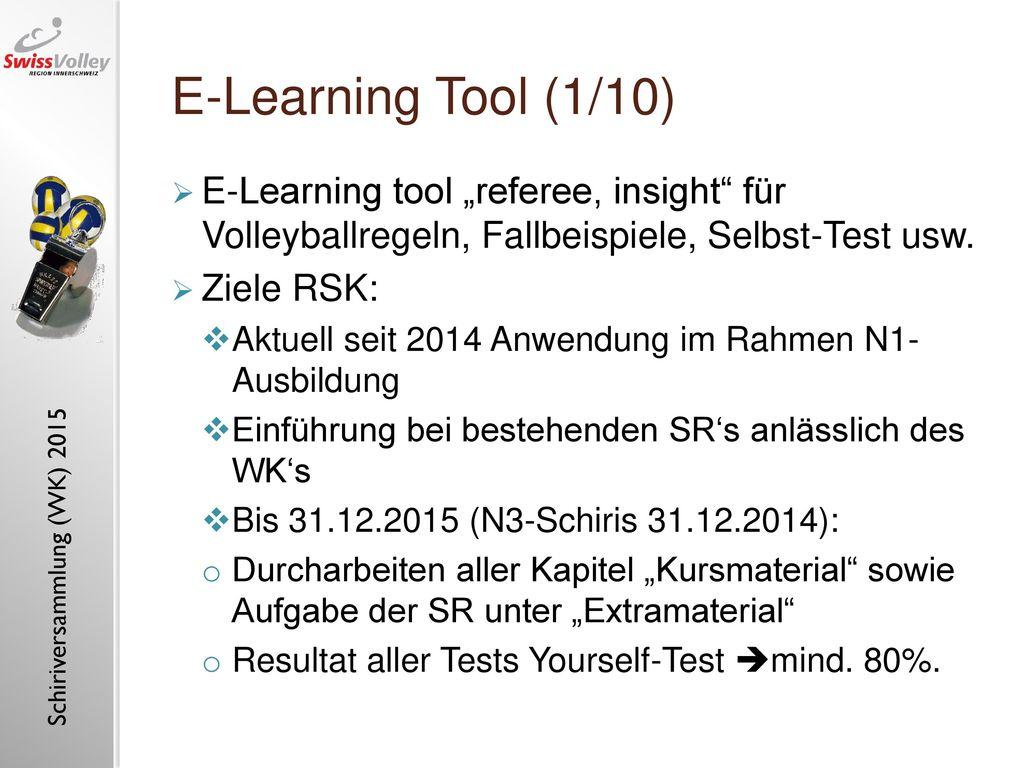 "E-Learning Tool (1/10) E-Learning tool ""referee, insight für Volleyballregeln, Fallbeispiele, Selbst-Test usw."