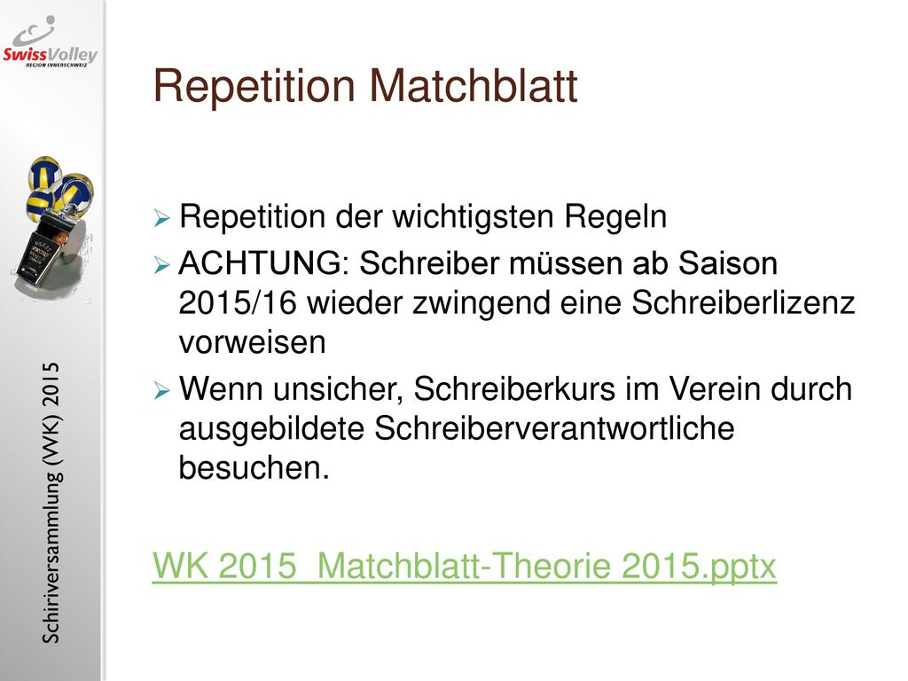 Repetition Matchblatt