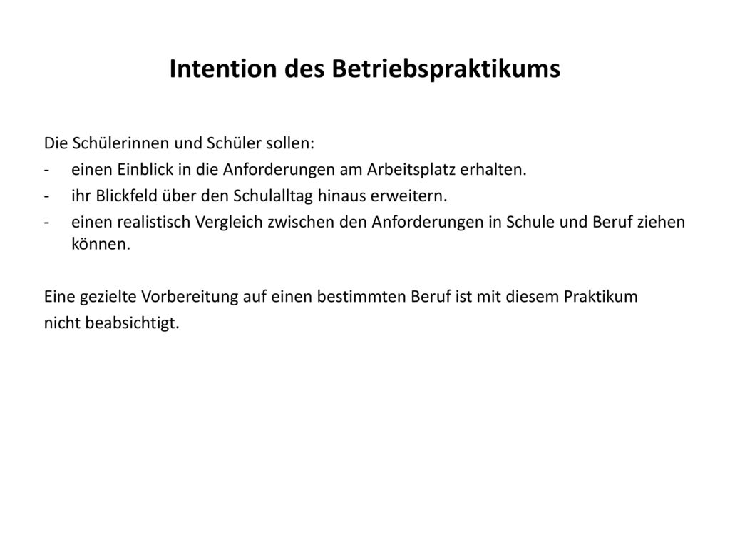 Intention des Betriebspraktikums