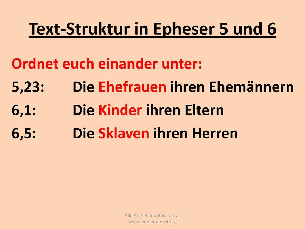 Text-Struktur in Epheser 5 und 6