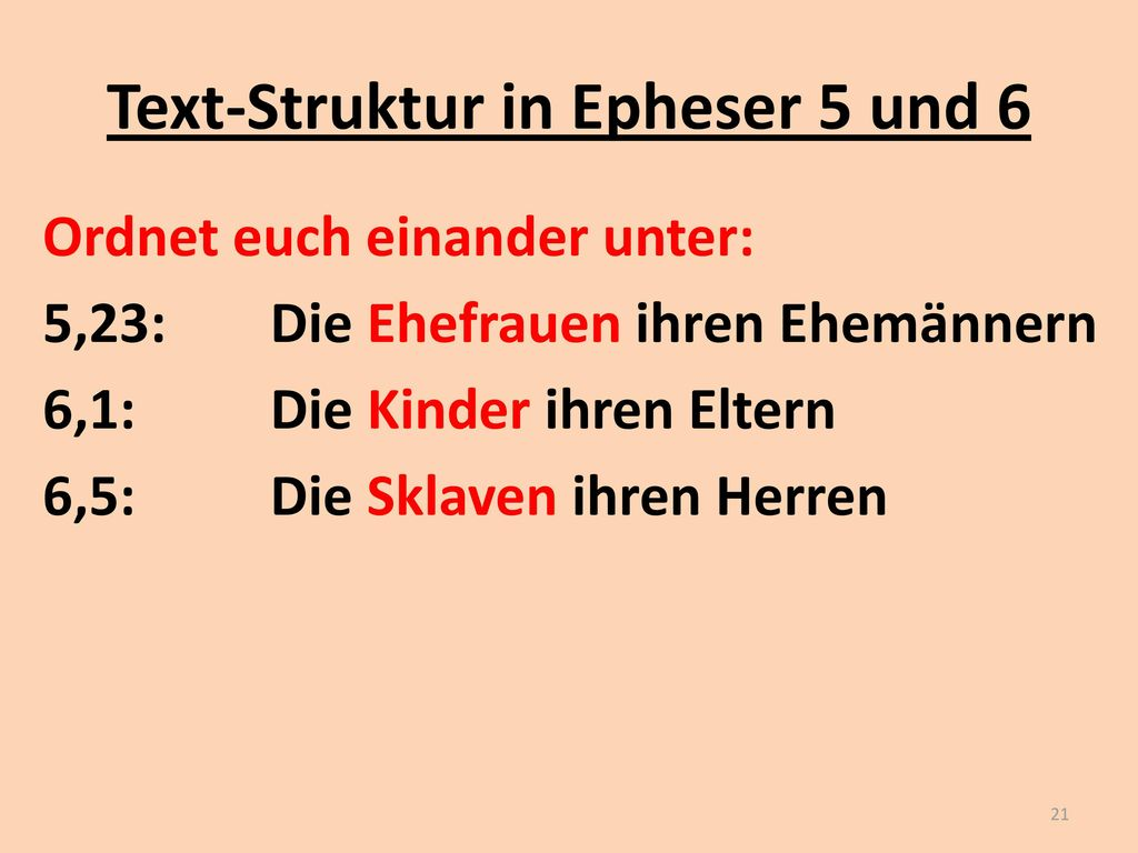 Text-Struktur in Epheser 5 und 6