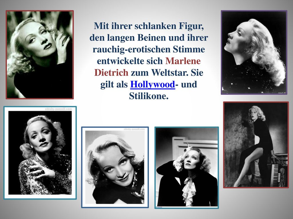 Mit ihrer schlanken Figur, den langen Beinen und ihrer rauchig-erotischen Stimme entwickelte sich Marlene Dietrich zum Weltstar.