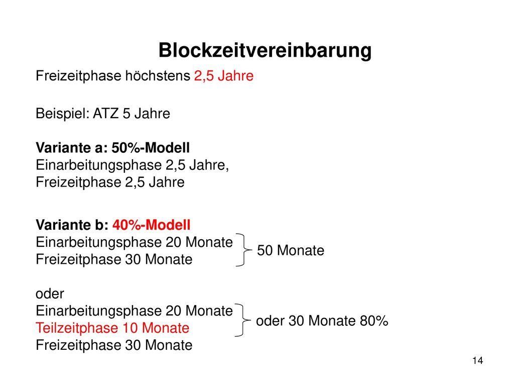 Blockzeitvereinbarung