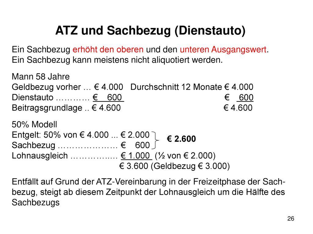 ATZ und Sachbezug (Dienstauto)