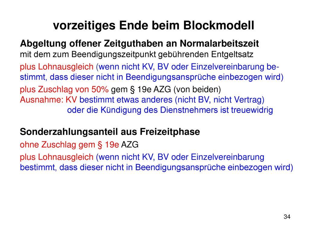 vorzeitiges Ende beim Blockmodell