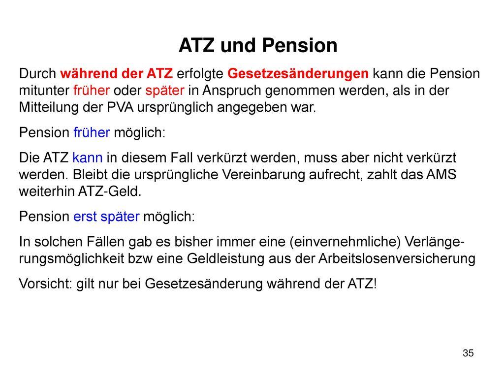 ATZ und Pension