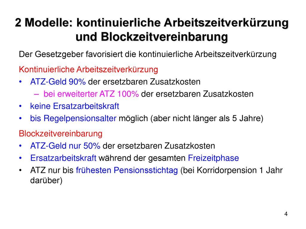 2 Modelle: kontinuierliche Arbeitszeitverkürzung und Blockzeitvereinbarung