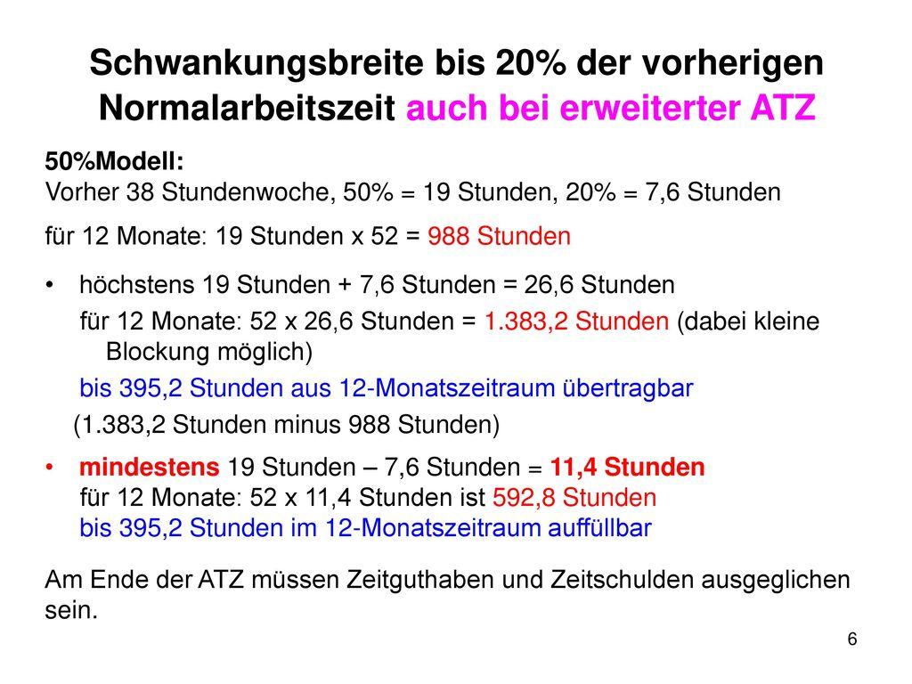 Schwankungsbreite bis 20% der vorherigen Normalarbeitszeit auch bei erweiterter ATZ