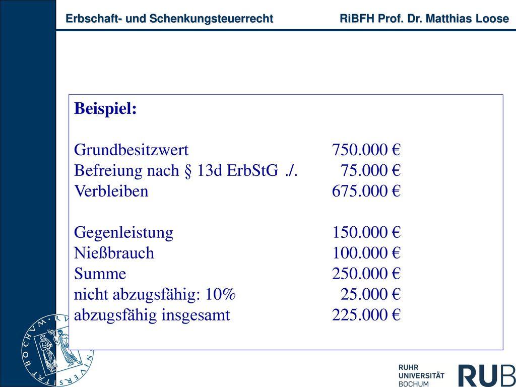 Beispiel: Grundbesitzwert 750.000 € Befreiung nach § 13d ErbStG ./. 75.000 € Verbleiben 675.000 €