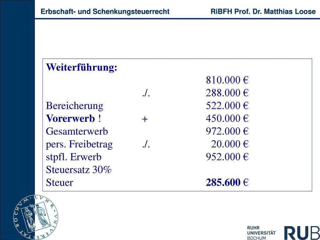 Weiterführung: 810.000 € ./. 288.000 € Bereicherung 522.000 € Vorerwerb ! + 450.000 € Gesamterwerb 972.000 €