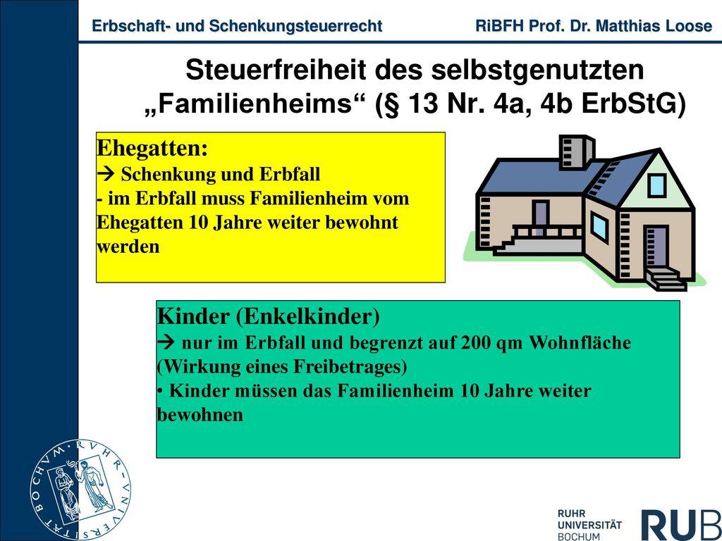 """Steuerfreiheit des selbstgenutzten """"Familienheims (§ 13 Nr"""