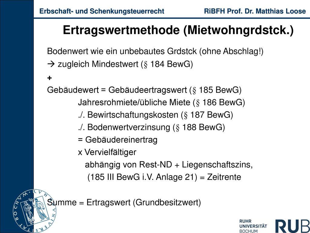 Ertragswertmethode (Mietwohngrdstck.)