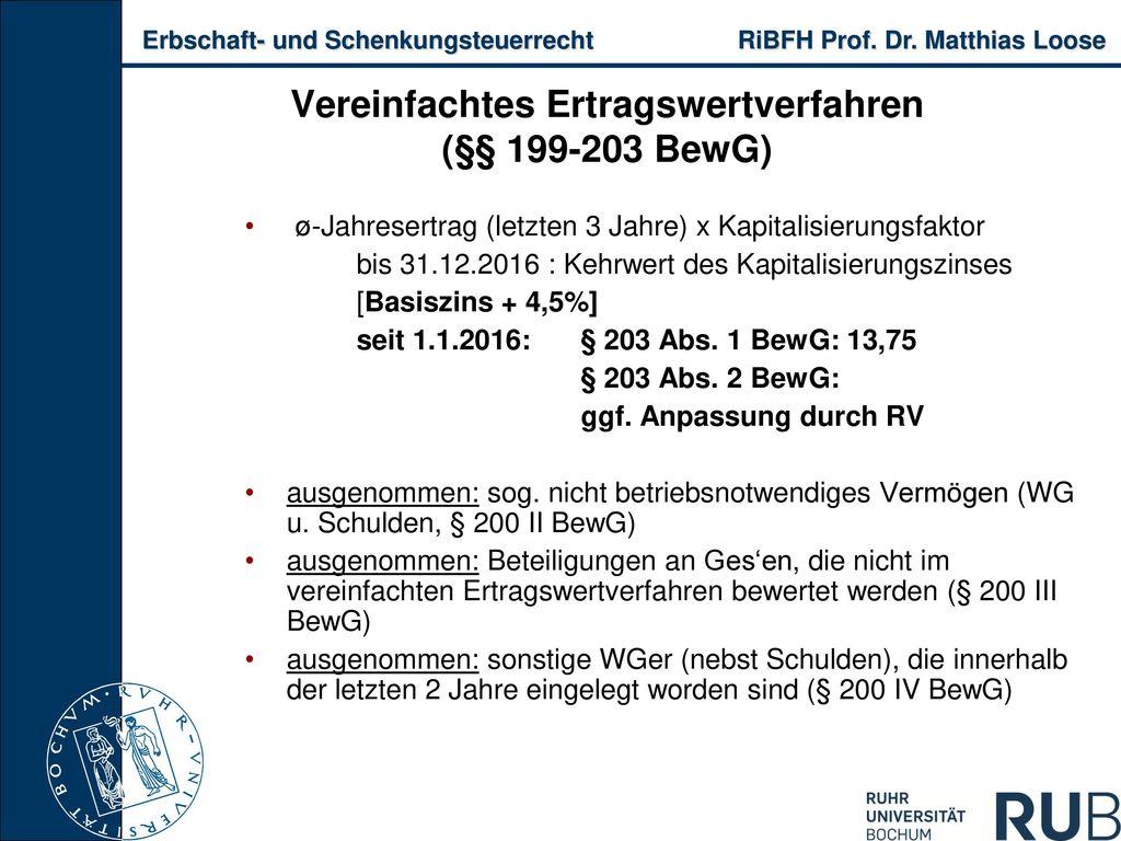 Vereinfachtes Ertragswertverfahren (§§ 199-203 BewG)