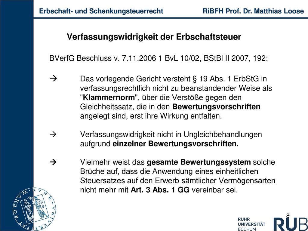 Verfassungswidrigkeit der Erbschaftsteuer