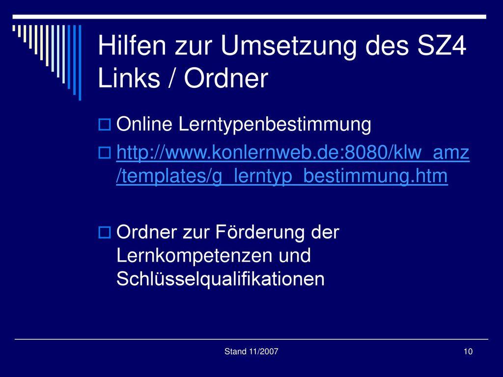Hilfen zur Umsetzung des SZ4 Links / Ordner