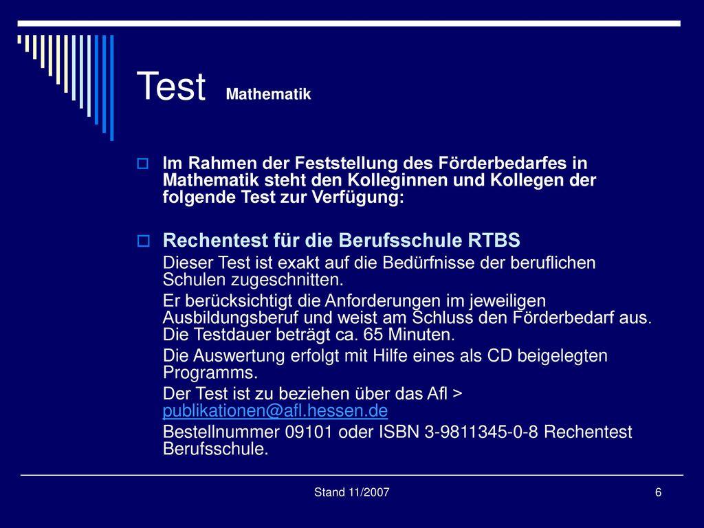 Test Mathematik Rechentest für die Berufsschule RTBS