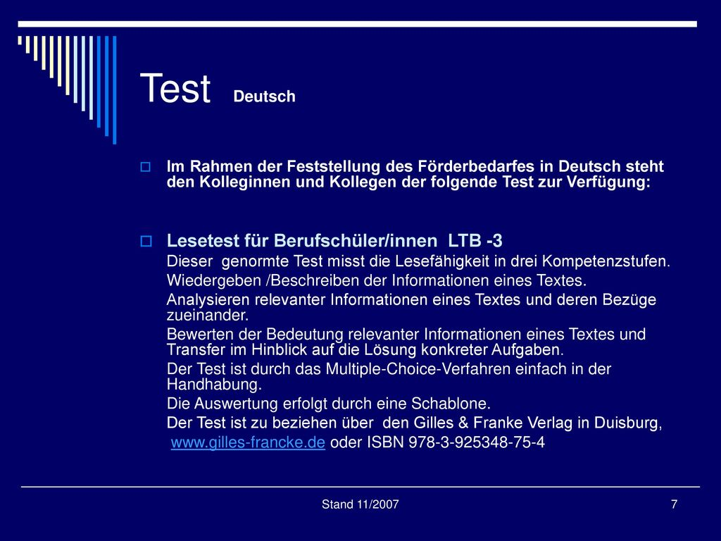 Test Deutsch Lesetest für Berufschüler/innen LTB -3