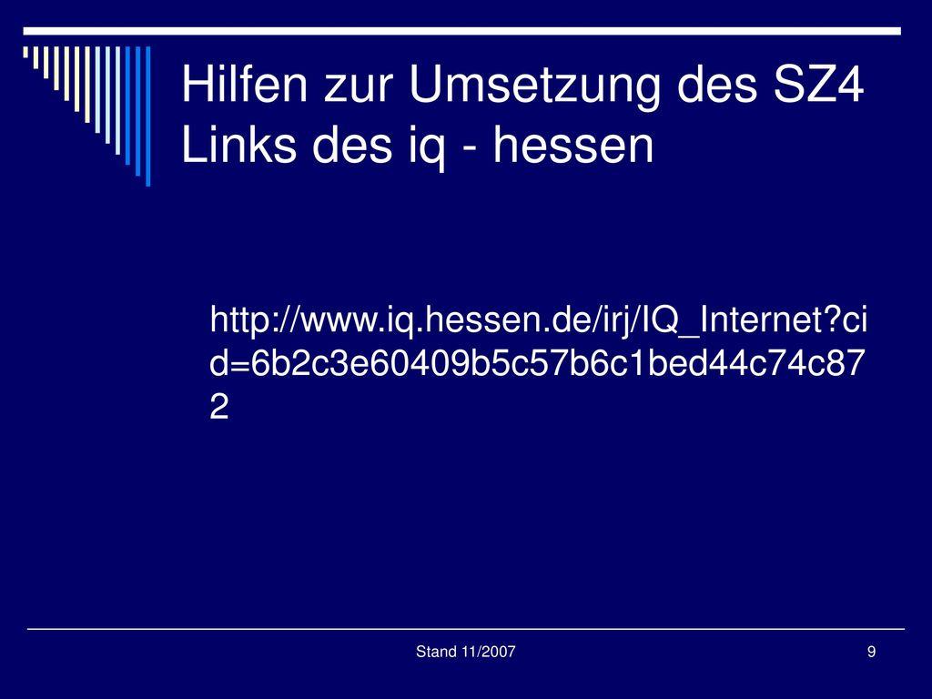 Hilfen zur Umsetzung des SZ4 Links des iq - hessen