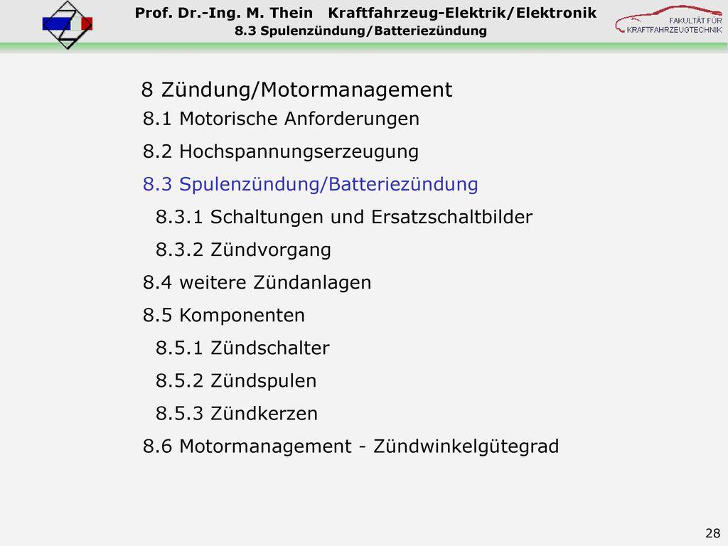 8.3 Spulenzündung/Batteriezündung
