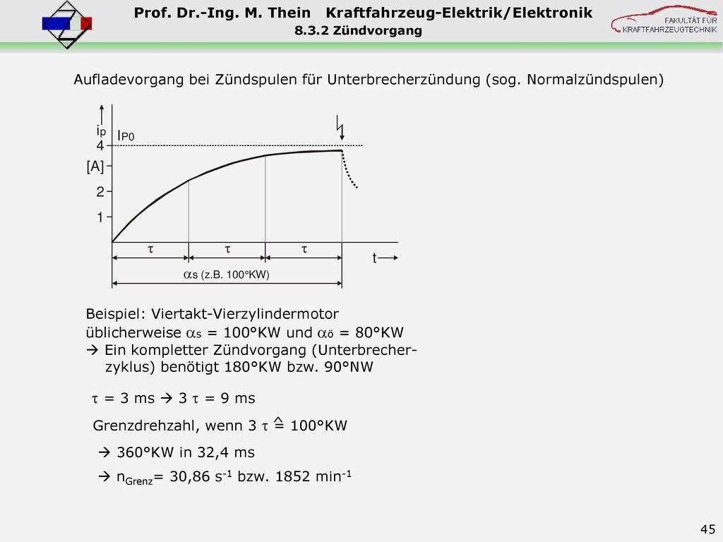 8.3.2 Zündvorgang Aufladevorgang bei Zündspulen für Unterbrecherzündung (sog. Normalzündspulen) Beispiel: Viertakt-Vierzylindermotor.