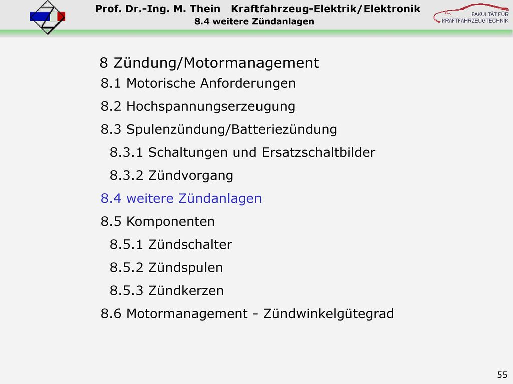 8 Zündung/Motormanagement