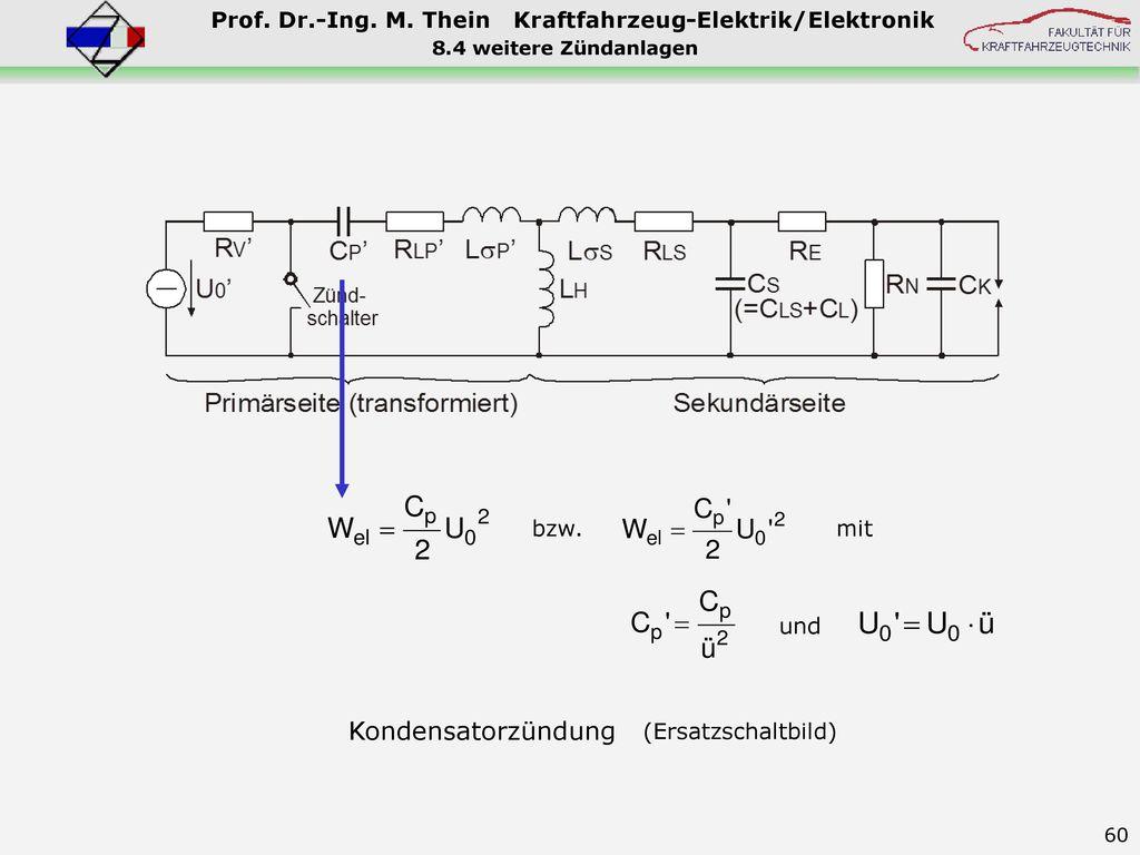 Kondensatorzündung bzw. mit und (Ersatzschaltbild)