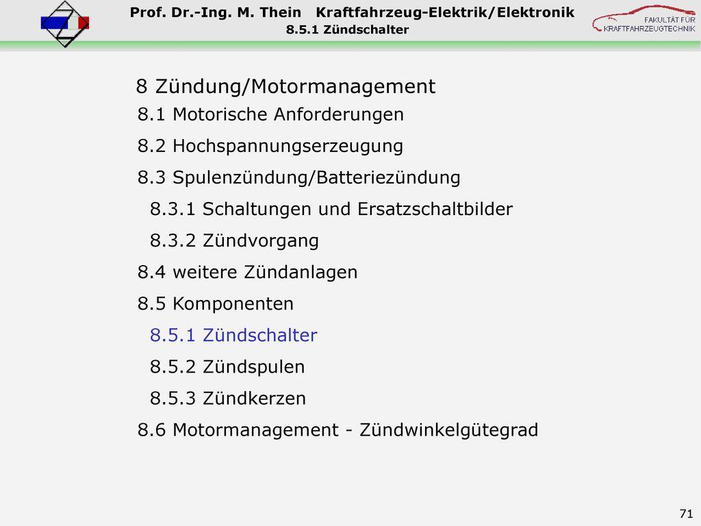 8 Zündung/Motormanagement
