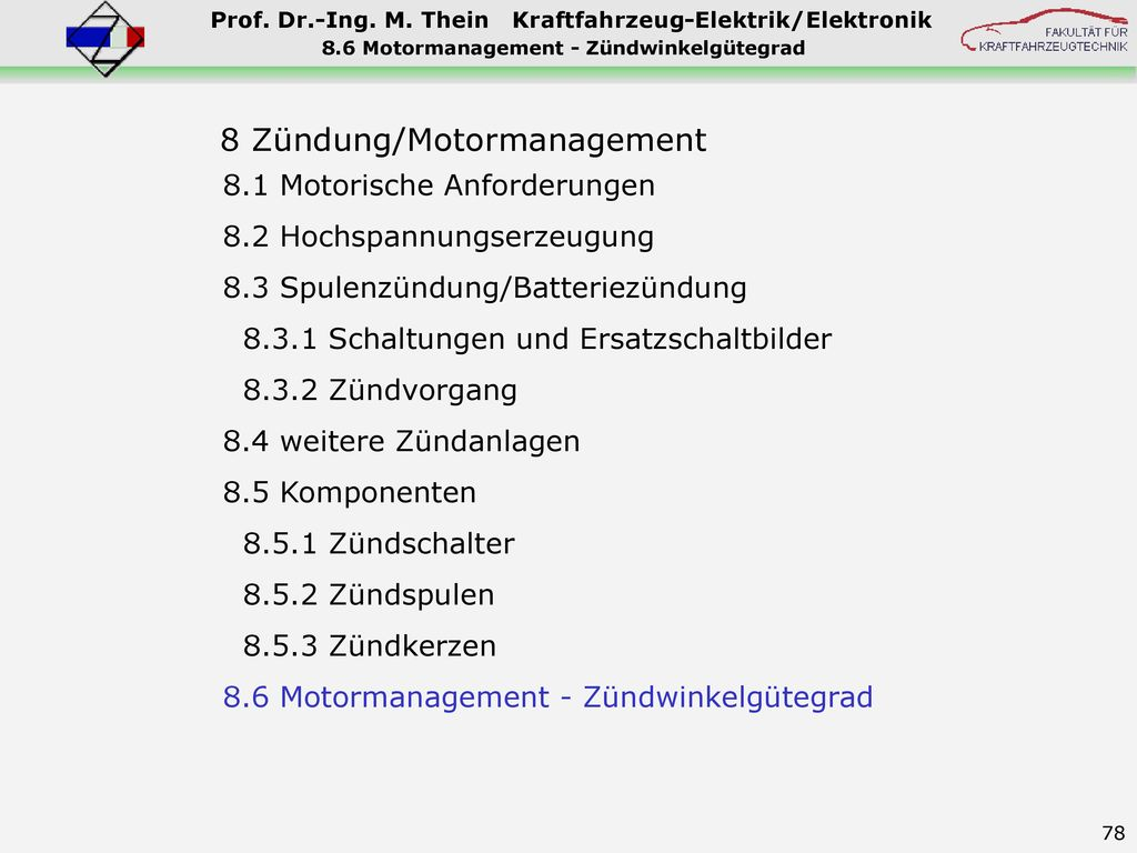 8.6 Motormanagement - Zündwinkelgütegrad