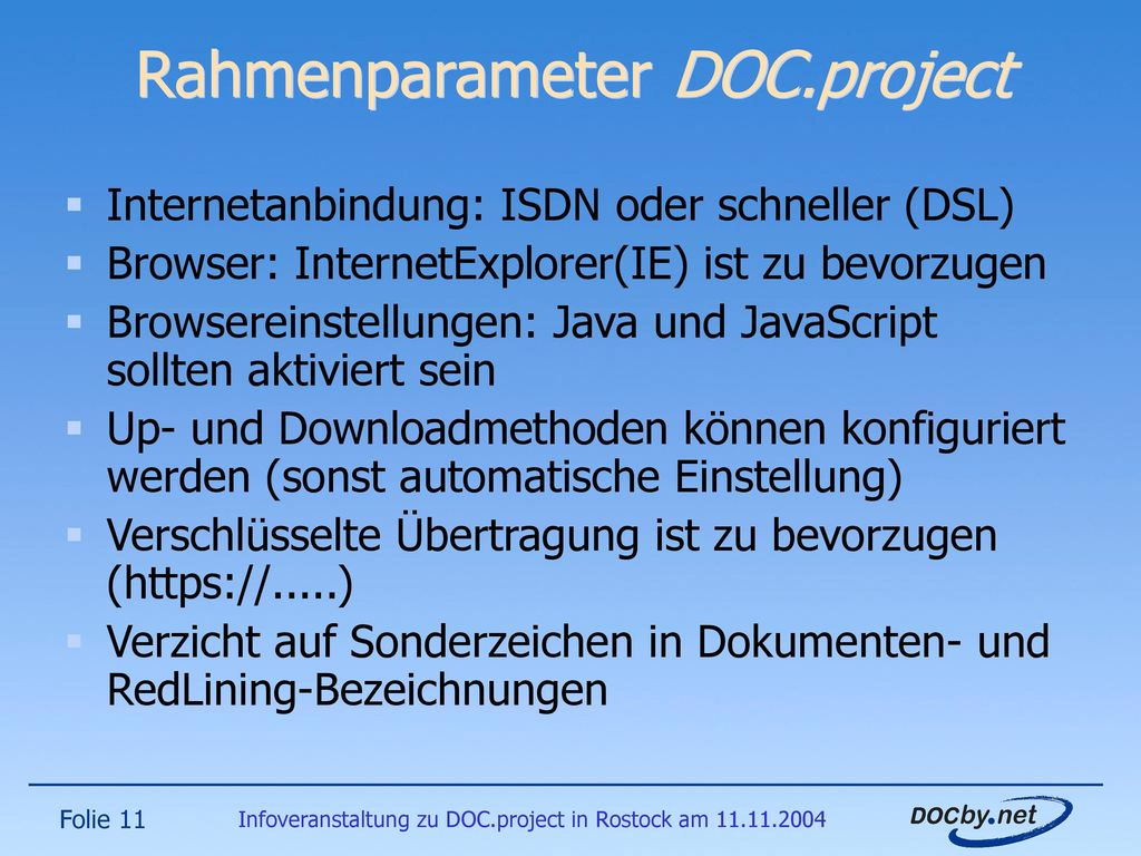 Rahmenparameter DOC.project