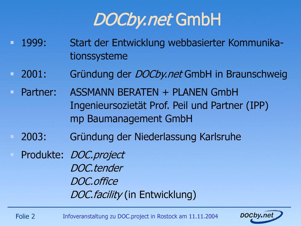 Infoveranstaltung zu DOC.project in Rostock am 11.11.2004