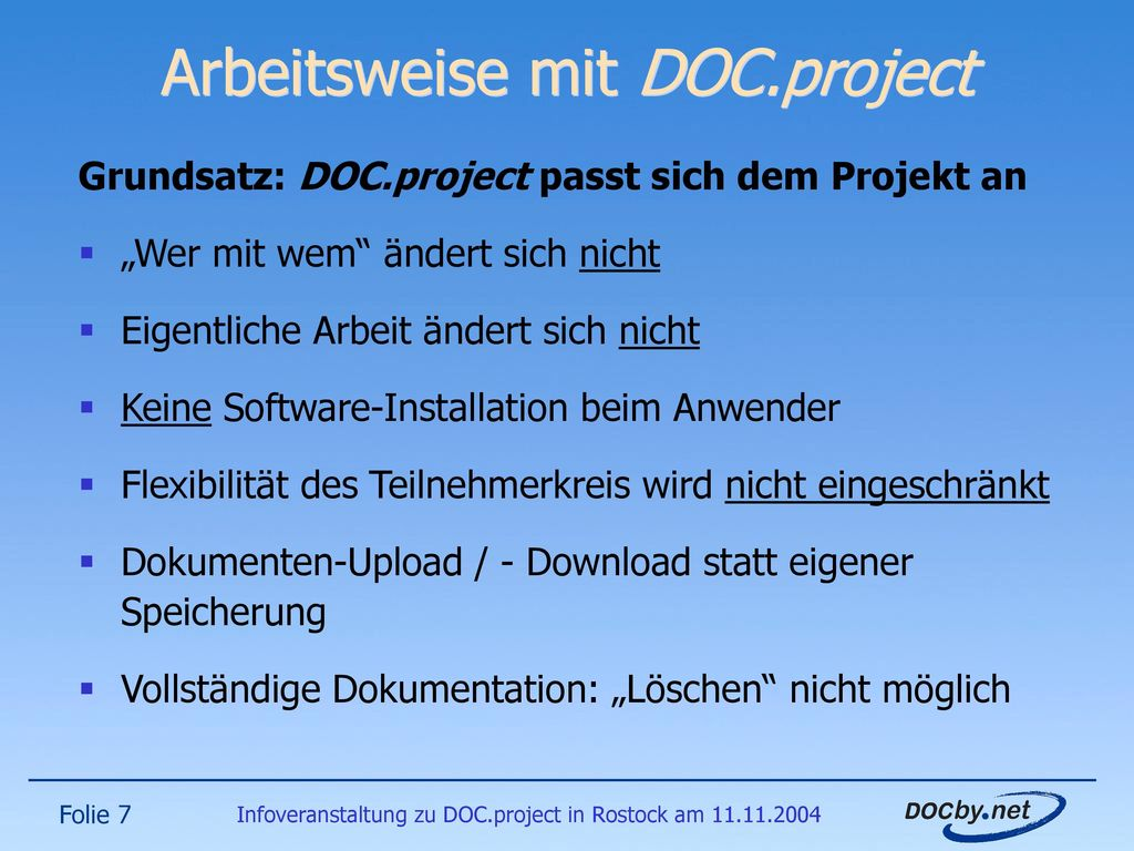 Arbeitsweise mit DOC.project
