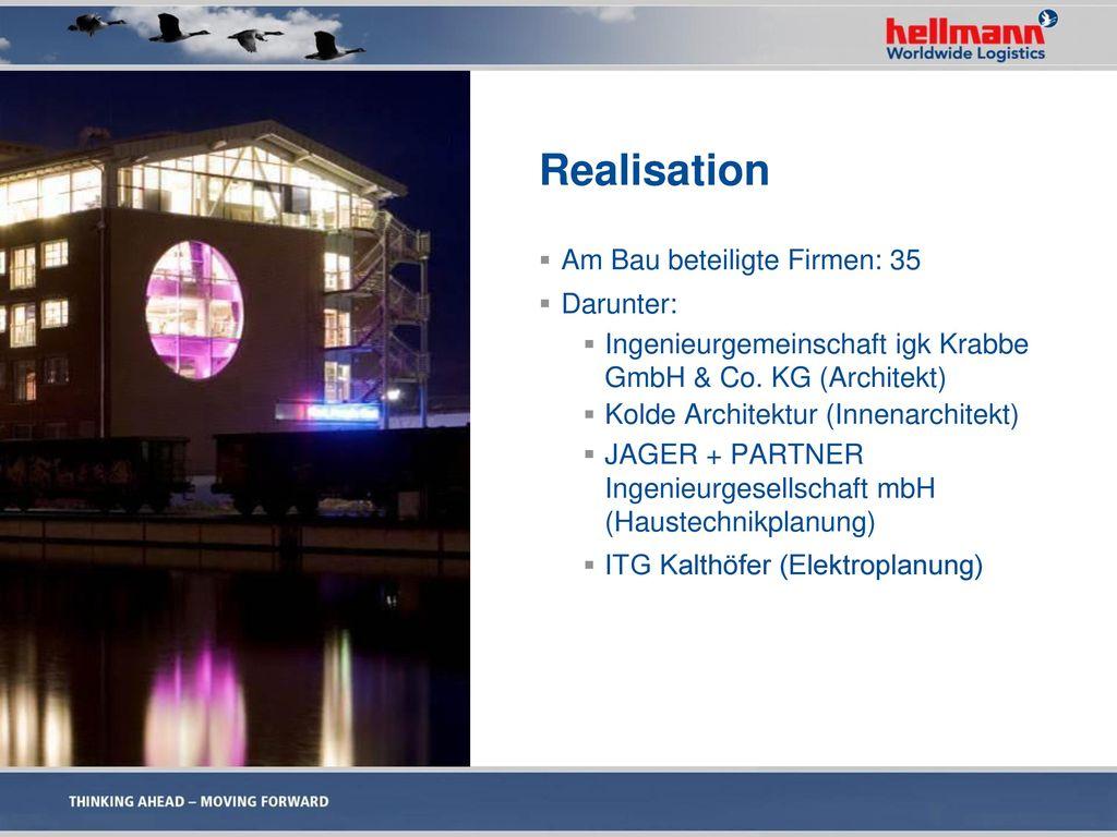 Realisation Am Bau beteiligte Firmen: 35 Darunter: