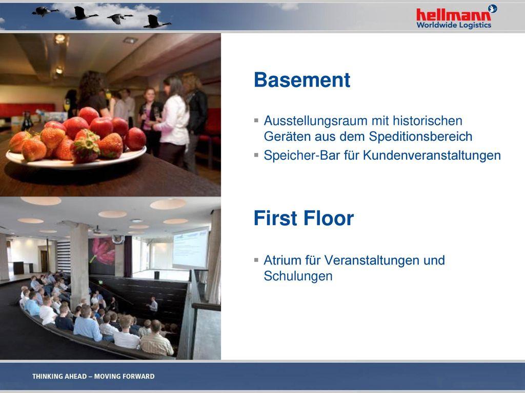 Basement Ausstellungsraum mit historischen Geräten aus dem Speditionsbereich. Speicher-Bar für Kundenveranstaltungen.